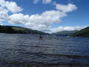 Wading out on my first SUP training session on Loch Tay - 13.07.14