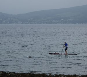 Safety SUPing for local swimmer Andrea