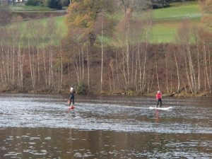 Nicola and Deano returning from a wee paddle on Loch Tummel