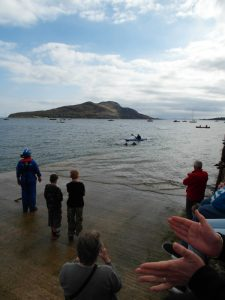 Eddie and Deano coming to the end, shadowed by safety kayaker Gary Wilson - photo courtesy of Eric Milton