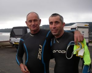 Eddie and Deano before the swim - dry socks