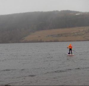 Heading out for a Winter SUP on Loch Tummel
