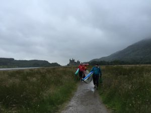 Ian leading the way off Loch Awe, (Kilchurn Castle in the background) - Photo courtesy of Alison, Northwest Paddleboards