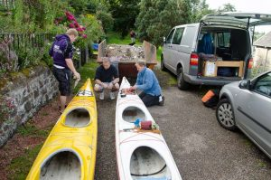 James, Chris and Patrick getting the kayaks ready - photo courtesy of Derek Alexander