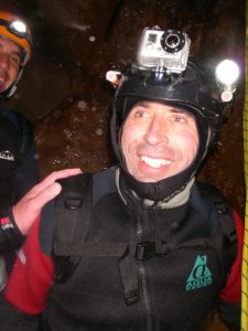 Deano at the bottom of the first abseil into darkness ( deep breathes now!)